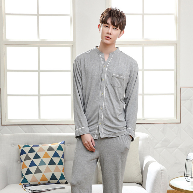 New Arrival Mens 2PCS Modal Pajamas Set Long Sleeve V Neck Night Suit Casual Homewear Loose Bamboo Fiber Nighty