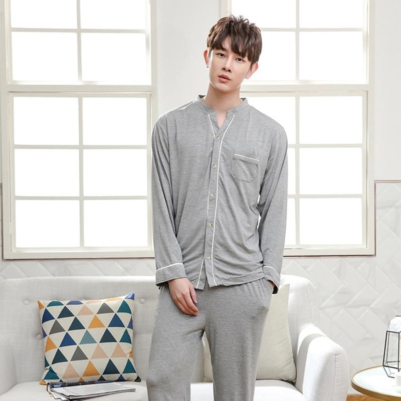 New Arrival Mens 2PCS Modal Pajamas Set Long Sleeve V Neck Night Suit Casual Homewear Loose Bamboo fiber Nighty