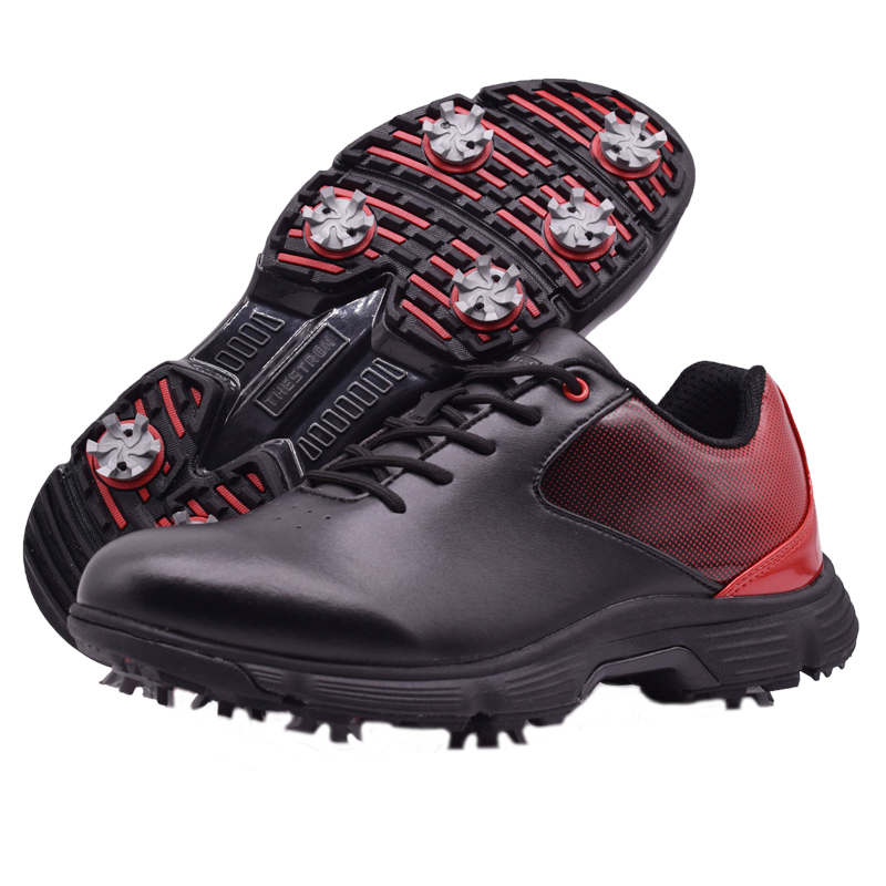 Men Professional Golf Shoes Waterproof Spikes Golf Sneakers Black White Mens Golf Trainers Big Size Golf Shoes for Men 7