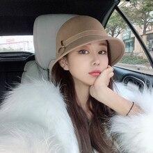Japanese Wool Bowl Hat For Women Ladies Autumn Winter Retro Hepburn Style Khaki Chapeu Fedora Hat Fashion Dinner Formal Top Hat