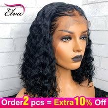 Волосы ELVA 13x6 человеческие волосы на кружеве парики для черных женщин парик из волнистых волос предварительно выщипанные волосы с волосами младенца бразильские волосы remy