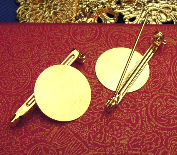 18mm Blank Brooches Bases Settings Flat Circle Glue Bezel Pad Pins Back Findings Golden tone Plated