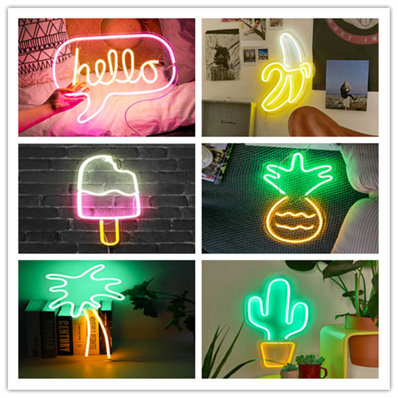 Led Neon Multi Colored Rainbow Wall Sign For Cool Light Wall Art Bedroom Decorations Home Accessories Party And Holiday Usb Wire Neon Bulbs Tubes Aliexpress