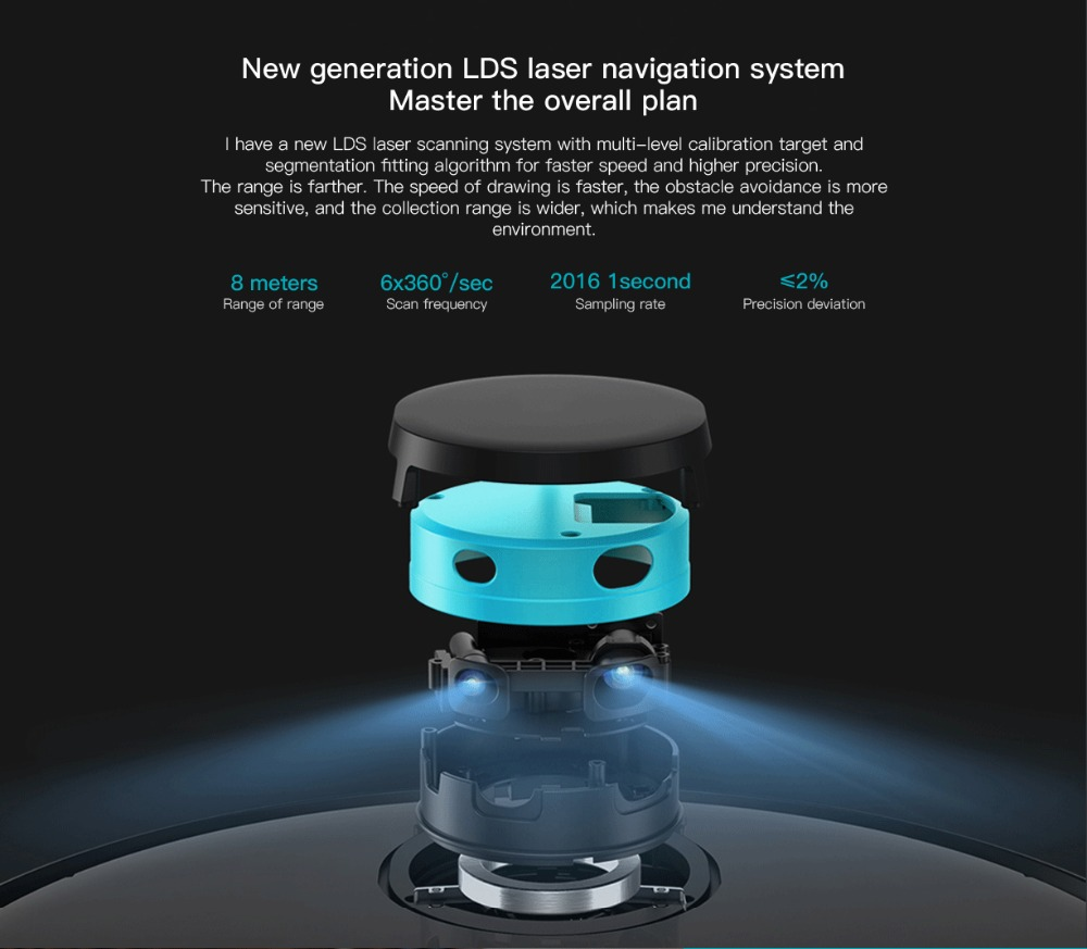 Original VIOMI V2 PRO vacuum cleaner 2100pa LDS strong suction sweeping robot automatic charging LDS laser navigation scanning 6