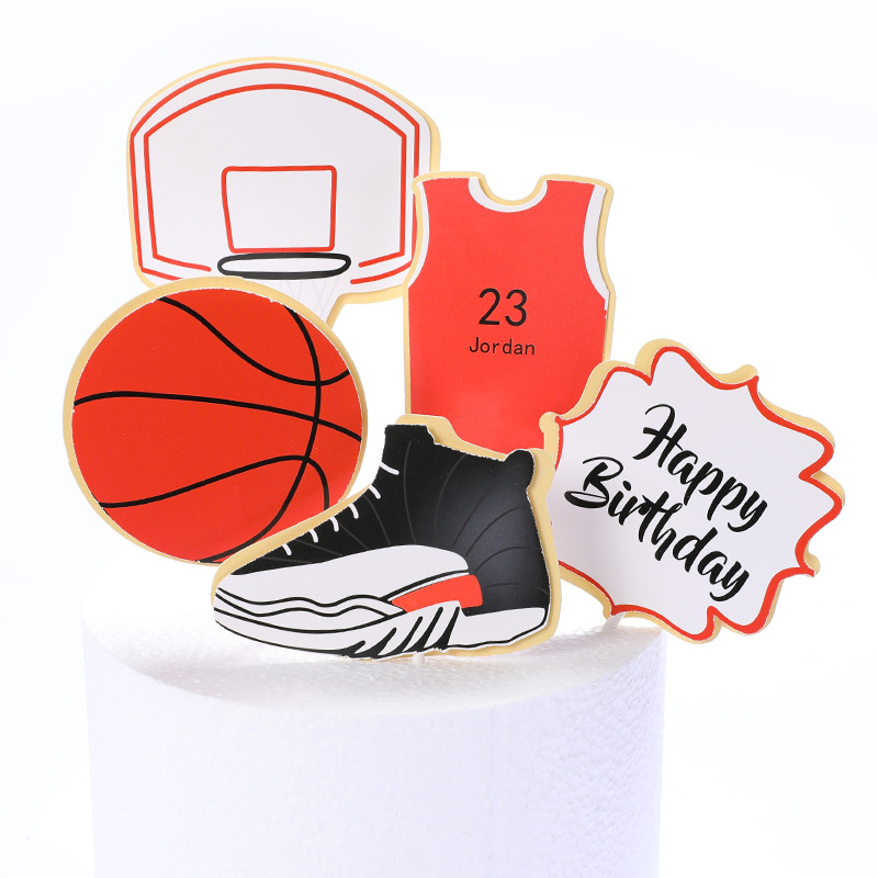Cake Toppers Glitter DIY Basketball Football Set Cupcake Topper Cake Flags Kids Boys Birthday Wedding Bride Party Baking Decor-4