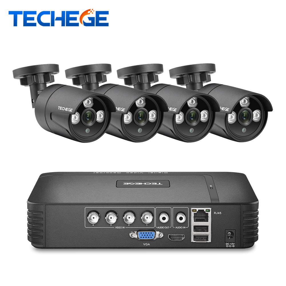 Techege CCTV kamera System 4CH 1080N AHD sicherheit Kamera DVR Kit CCTV wasserdichte Outdoor home Video Surveillance System HDD