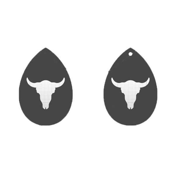 Japan Steel Blade Leather Die Cut Oxhead Earring with Hole Bull Head Shape Pendant Template Pattern DIY Earring Supplies