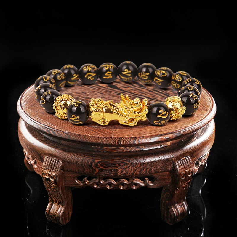 Feng Shui Black Beads Alloy Wealth Bracelet Unisex Wristband Gold Black Pixiu Wealth and Good Luck Women Men Bracelet