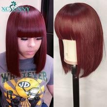 99j peruca bob franja peruca de cabelo humano 12 polegada 150% curto máquina cheia feita peruca com o topo do couro cabeludo remy brasileiro para as mulheres xcsunny