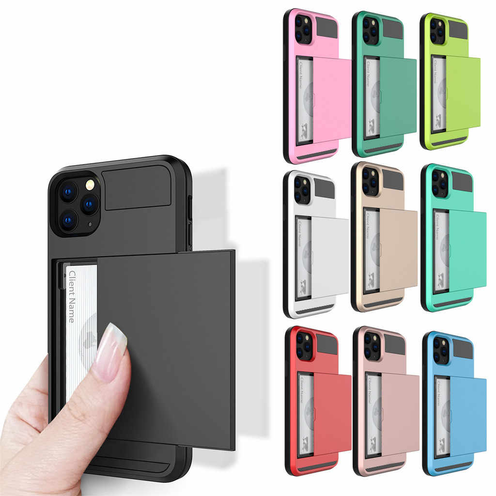 Card Slot Case For iPhone 11 Pro 5.8 Inch Wallet Cases Soft TPU Hard PC Phone case Protective coverPackage includes # E25