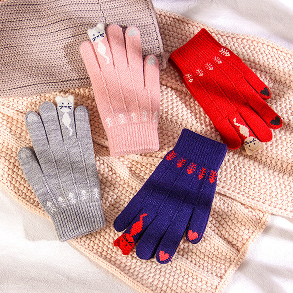Winter Warm Cute Trendy Design Cartoon Touchable Screen Gloves Full Finger Knitted Warm Mittens For Women Gilrls Grove Xmas Gift