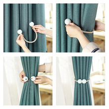 1x pearl new magnetic hanging ball curtain clip tie rope strap buckle accessorie
