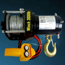 12v winch 12v winche 200pounds 3000 pounds 3500pounds +6M steel wire+ Pliers free shipping