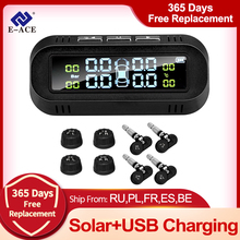 Monitor-System-Display Car-Tire-Pressure-Alarm E-ACE Solar Tpms Temperature-Warning 4-Sensors-Device