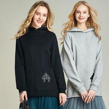 Хавва, осенний и зимний пуловер с капюшоном, Женская толстовка, свободная тонкая толстовка с карманом-кенгуру V3132