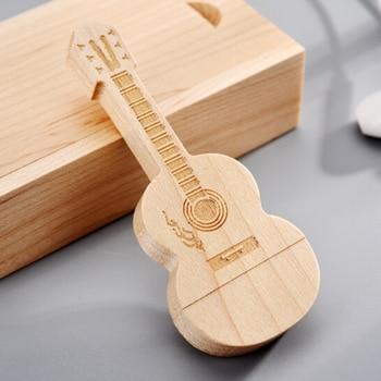 Wooden birthday gift USB flash drive personalized creative lettering custom high-speed USB3.1 guitar u disk custom lettering