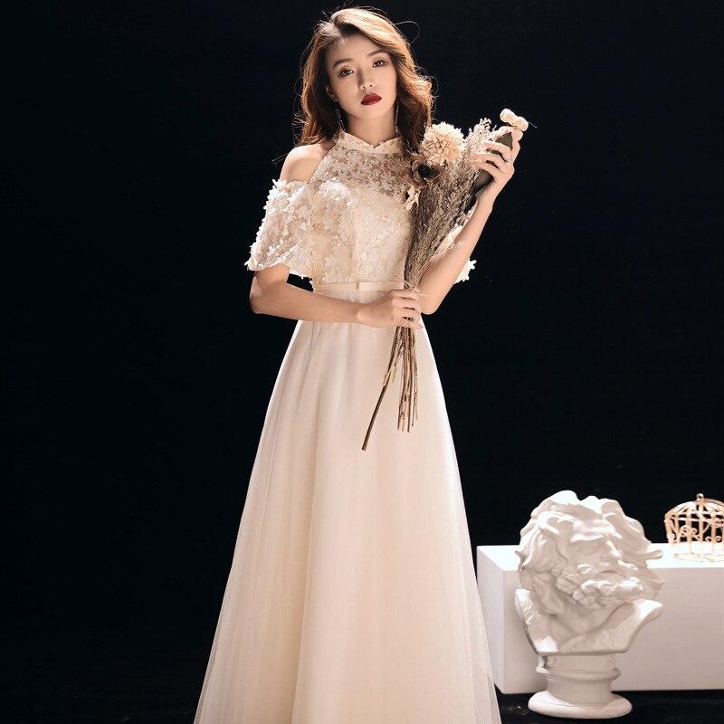 Vestidos De Madrinas De Bodas Banquet Evening Dress 2020 New Autumn And Winter Noble Elegant Long Host Celebrity Bridesmaid