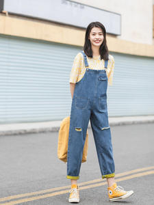 INMAN Suspender Frock-Style Personality-Hole Ankle-Length Loose Summer Nifty New-Arrival