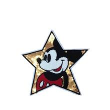 Fünf Sterne Pailletten Patches Eisen Auf Für Kleidung Applique Für Kleidung 2 stücke nette Cartoon Dekoration Bunte Applique Jacke