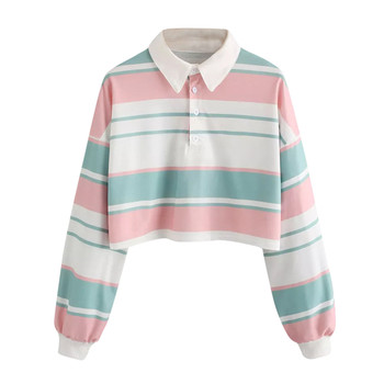 Womens Casual Sweatshirt Drop Shoulder Striped Crop Pullover Top Streetwear Sweatshirt Women Одежда Для Женщин Hip Hop #BL4 animal print drop shoulder sweatshirt
