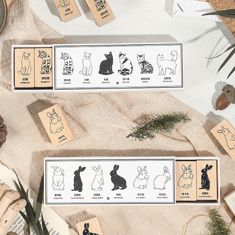 Vintage Animal Illustrated Cat Rabbit Stamp Set DIY Wooden Rubber Stamps For Scrapbooking Stationery Scrapbooking Standard Stamp