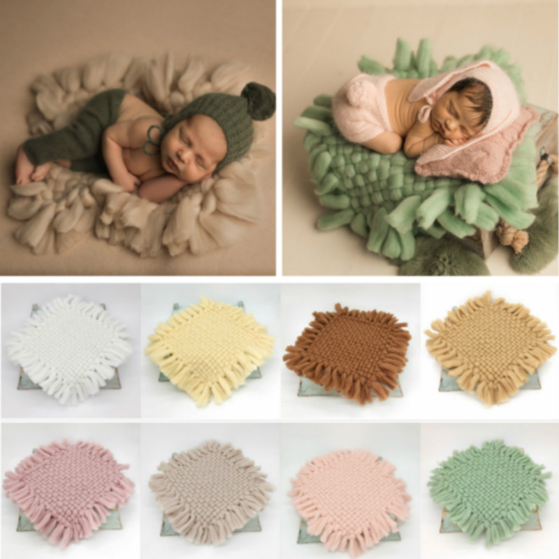 Newborn Photography Props Baby Photo Blanket Weaving Thick Wool Blanket Infant Shoot Accessories Square Carpet Creative Props