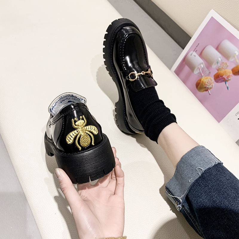 IN 2020 New Arrival  Style Vintage Buckle Mary Janes Shoes Women'S Shallow Mouth Casual Student Leather Shoes Thick Bottom