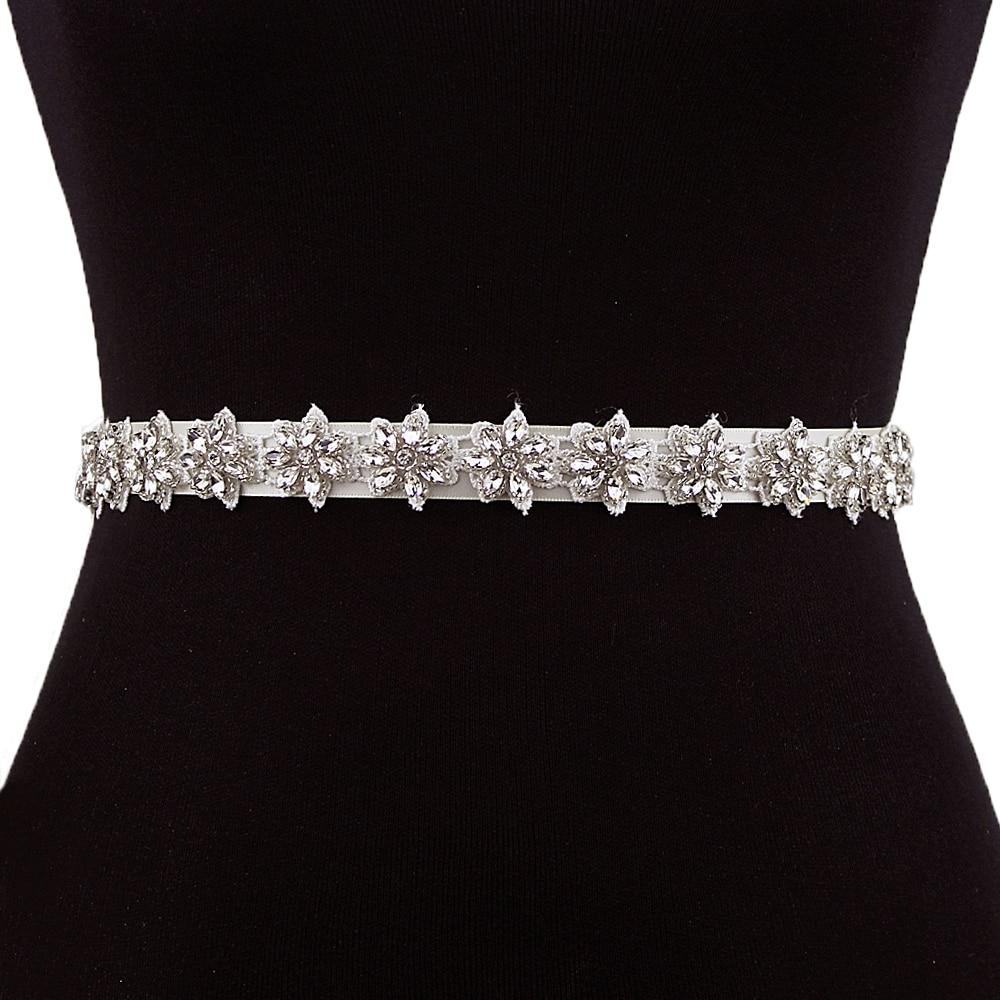 TRiXY S163 Crystal Rhinestones Bridal Belt Wedding Dress Accessories Crystal Bridal Sashes Wedding Bridal Decoration