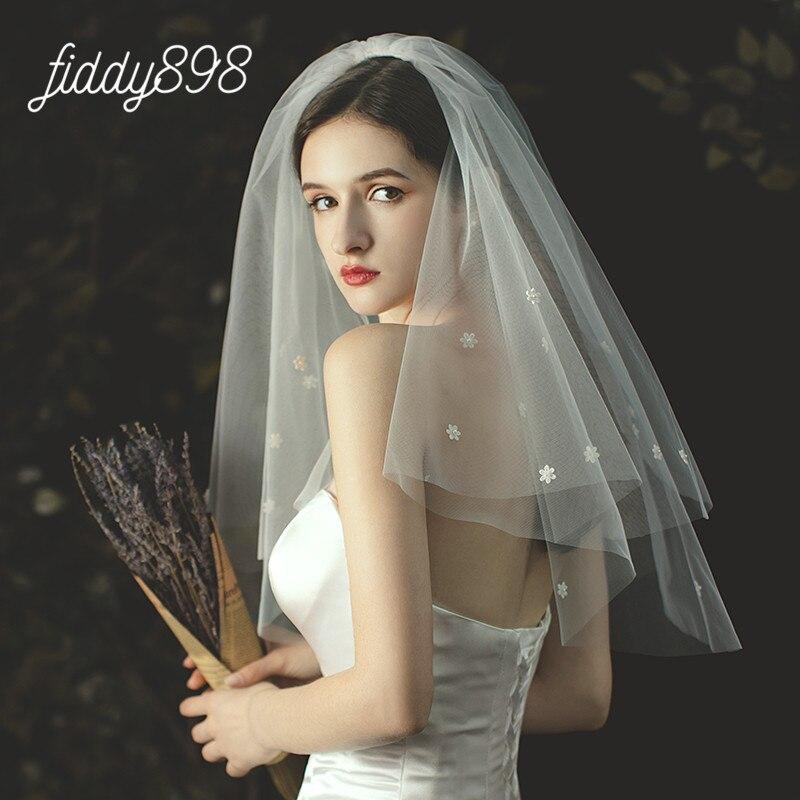 Simple Short Wedding Veil 2020 Two Layer Flower Bridal Tulle Veils With Comb Wedding Accessories Velo De Novia Largo