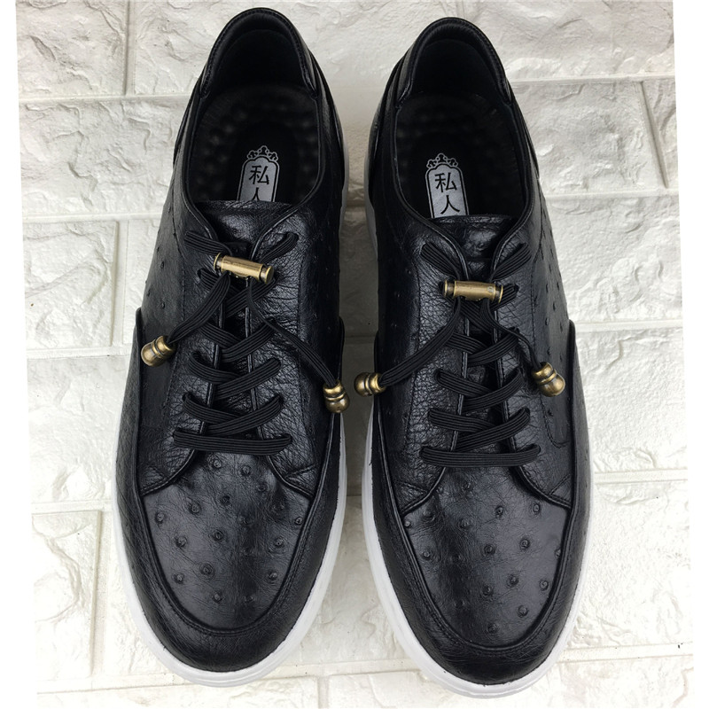 Unisex Chic Style Authentic Real Ostrich Skin Men's Casual Sneakers Exotic Genuine Leather Female Male Elastic Band Flats Shoes