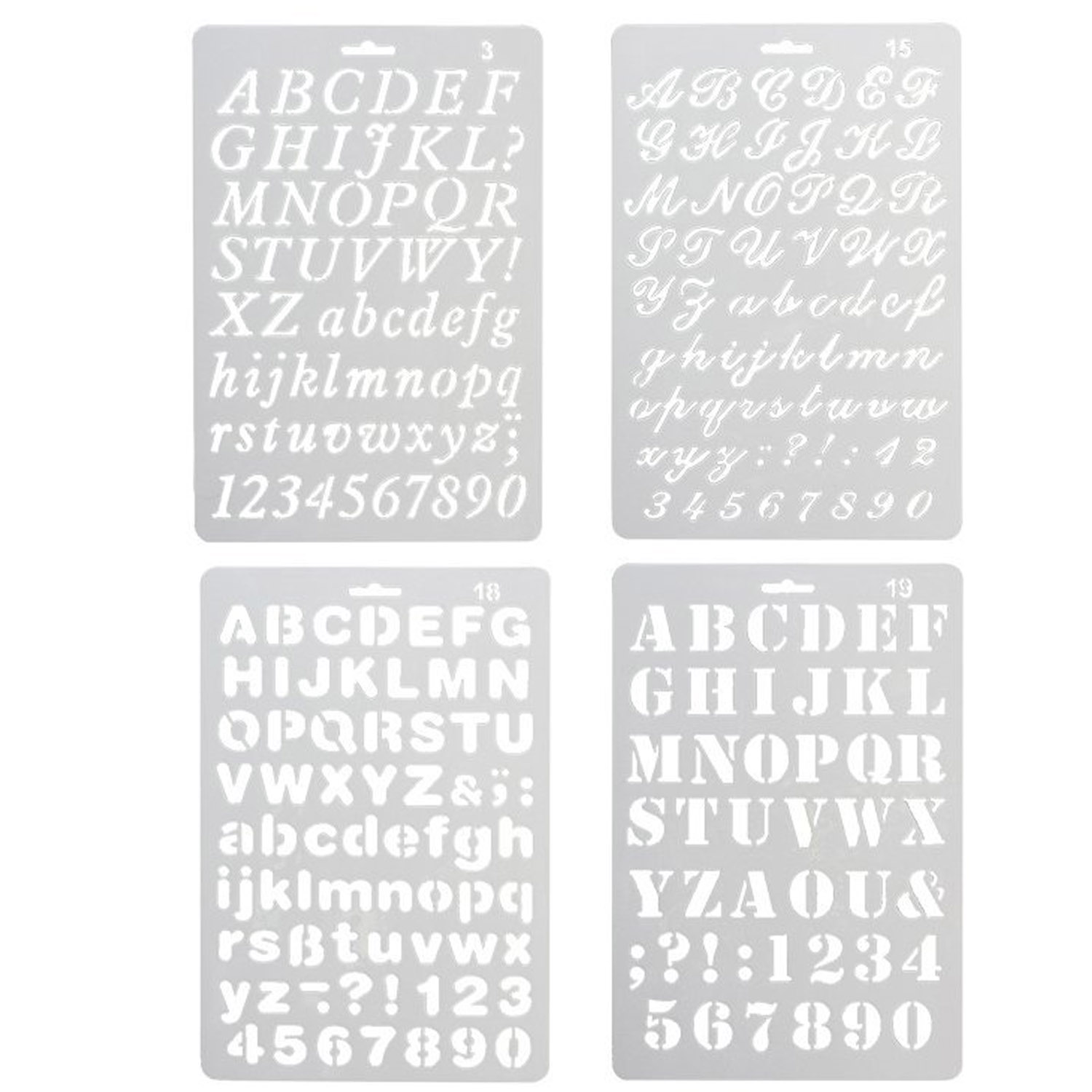 4 PCS Assorted Styles Number And Letter Drawing Templates Stencil Set For DIY Craft Journal Photo Album Scrapbook Art Projects