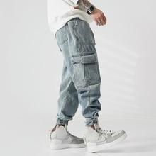 Fashion Streetwear Men Jeans Loose Fit Big Pocket Denim Cargo Pants Homme Retro Blue Japanese Vintage Designer Hip Hop Jeans Men