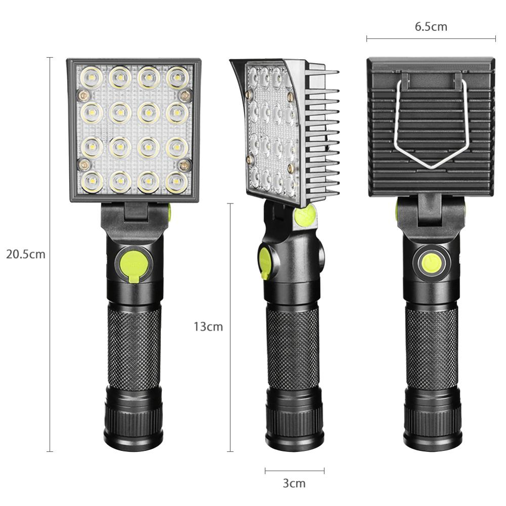 Image 4 - 16 LEDs Work Flashlights White Red Blue Light Car Repair Working Lamp USB 18650 Torch Built in Magnet Hook Tent Camping Lantern-in LED Flashlights from Lights & Lighting