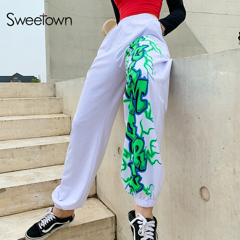 Sweetown White Lightning Printed Harem Pants Women 2019 New Elastic High Waist Baggy Pants Casual Hip Hop Streetwear Sweatpants
