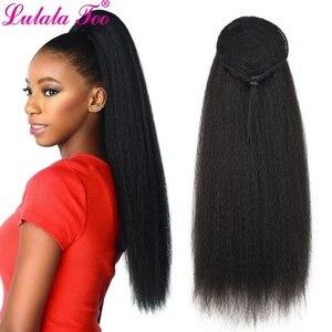 Image 1 - Синтетический длинный хвост 22 дюйма, кудрявый прямой искусственный конский хвост, парик для женщин, наращивание волос на заколках