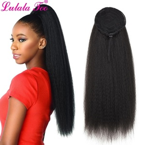 Image 1 - 22inch Drawstring Ponytail Synthetic Long Afro Kinky Straight Fake Ponytail Wig Hairpiece For Women Clip in Hair Extension