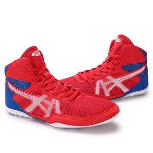 Боксерские кроссовки для мужчин и женщин, высокие, Нескользящие, профессиональная обувь для бокса, черные, красные
