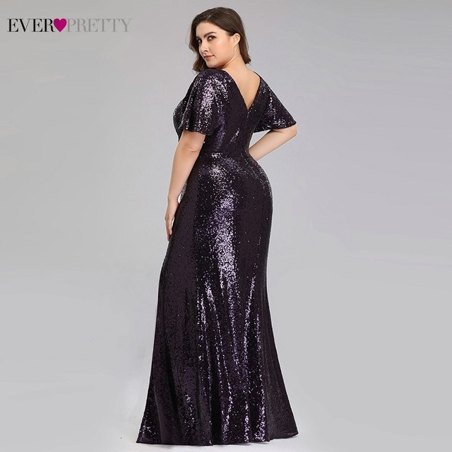 Plus Size Dark Purple Mermaid Evening Dresses Long Ever Pretty EP00928DP O-Neck Sequined Elegant Formal Dresses Robe De Soiree 1