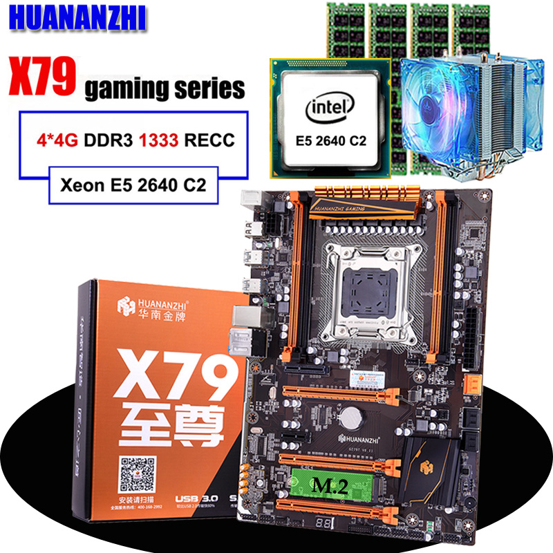 Discount Motherboard HUANANZHI Deluxe X79 LGA2011 Motherboard With M.2 Slot CPU Xeon E5 2640 C2 With Cooler RAM 16G(4*4G) RECC