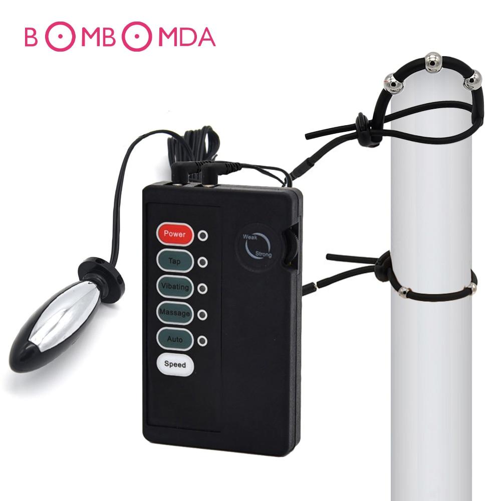Electro Shock Dildo Butt Anal Plug Medical Themed Toys Electric Shock Penis Rings Electro Shock Vibrator Sex Toys For Men Dick