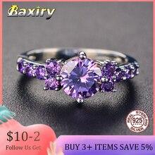 อินเทรนด์อัญมณีเงิน925เครื่องประดับAquamarineแหวนผู้หญิงแหวนเงินAmethyst Blue SapphireแหวนCocktaillแหวน