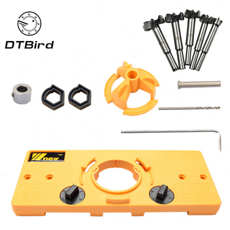 Concealed 35MM Cup Style Hinge Jig Boring Hole Drill Guide + Forstner Bit Wood Cutter Carpenter Woodworking DIY Tools