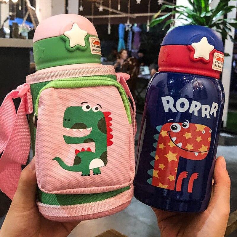 500ml bebe dinossauro copo de alimentacao garrafa termica de leite de aco inoxidavel para criancas isoladas