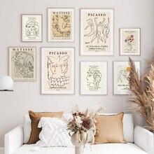 Картина на холсте с изображением Пикассо Матисса абстрактная девушка цветок скандинавские плакаты и принты настенные картины для гостиной...