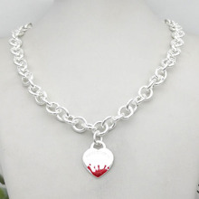 Sterling Silver 925 Classic Pop Fashion Pink Enamel Water Splash Heart Pendant Women's Necklace