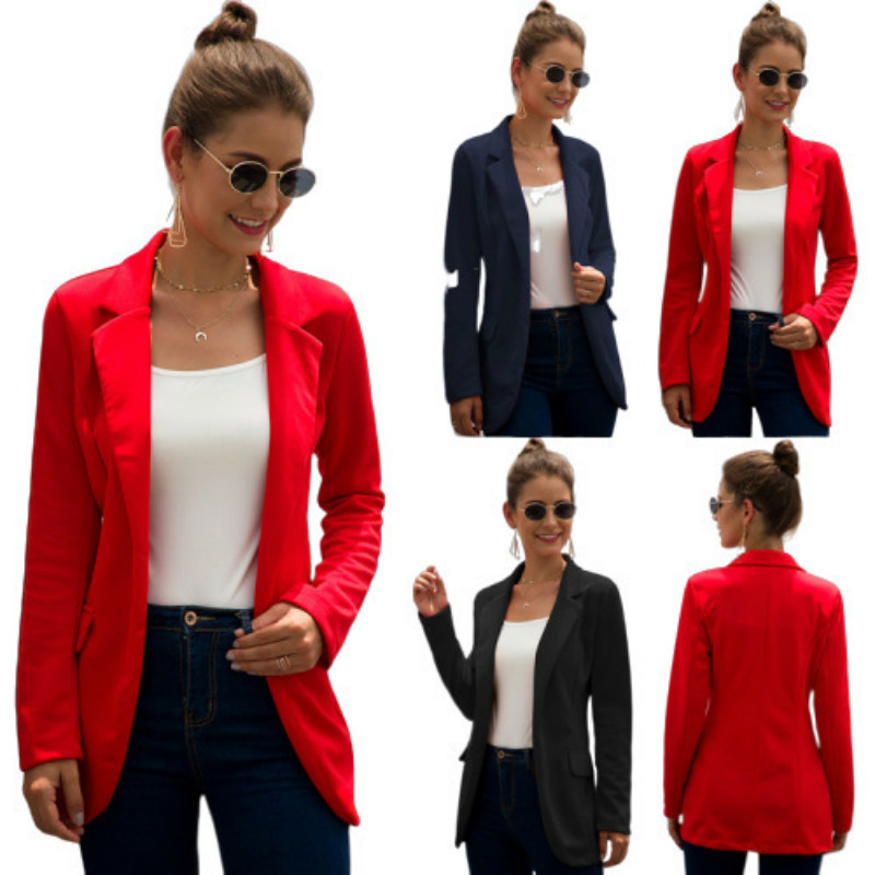 PEONFLY Women Office Blazer Ladies Elegant Business Jacket Long Sleeve Solid Red Black Slim Blazers Women Thin Fashion Coat 3XL