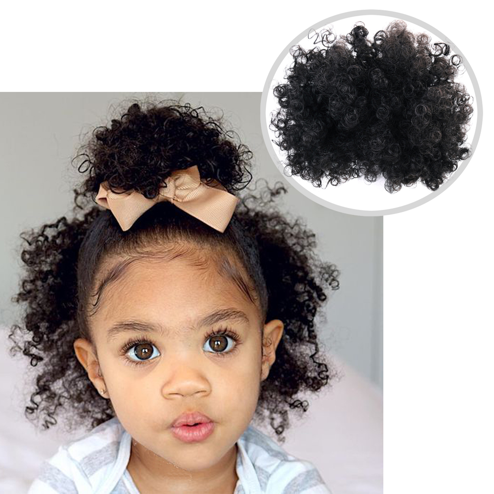 2pcs Afro Bun Puff Curly Chignon Ponytail Drawstring Short Afro Kinky Ponytail  Synthetic Hair Bun Hair Accessories For Kids