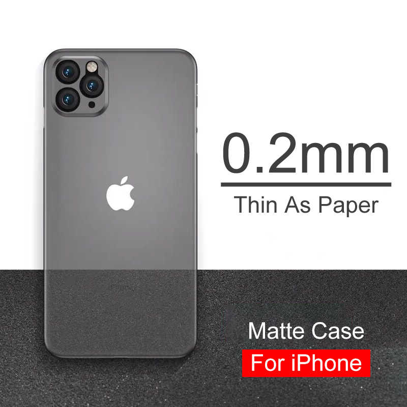 Funda mate de 0,2mm para Iphone Se 2020, funda transparente ultrafina para Iphone 11 Pro Xs Max X Xr 8 7 6s 6 Plus, funda completa delgada
