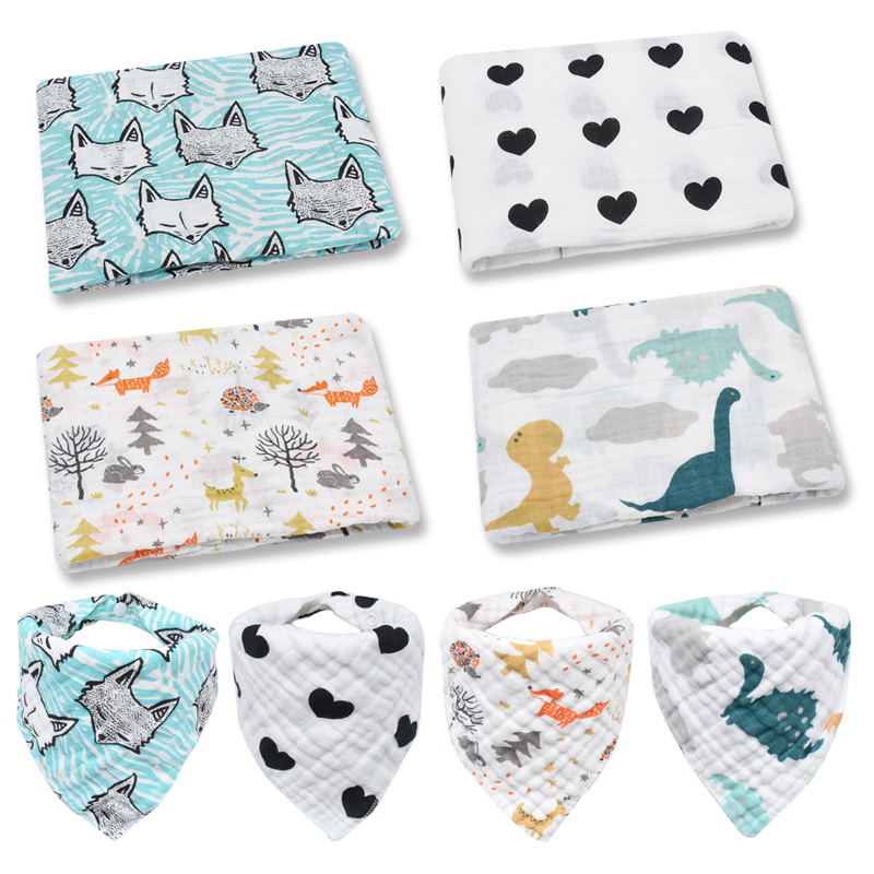 Swaddle+bib Set Baby Swaddles Soft Newborn Blankets Bath Gauze Infant Wrap Sleepsack Stroller Cover Bath Gauze Infant Wrap