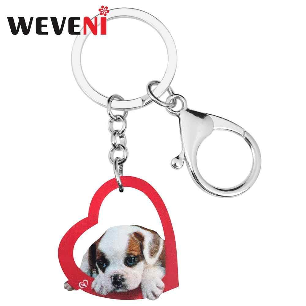 WEVENI akrilik sevgililer günü kalp Bulldog köpek anahtar zincirleri hayvan anahtarlık çanta araba cüzdan anahtarlık kadınlar için kız genç erkekler hediye